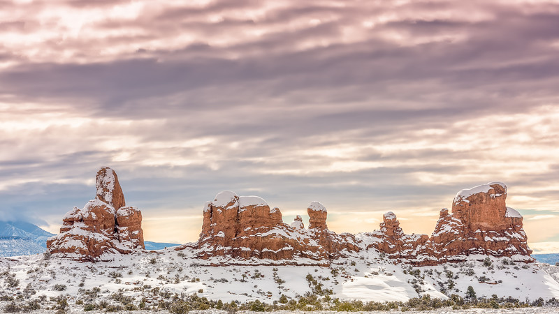 Winter Morning at Turret Arch Moab