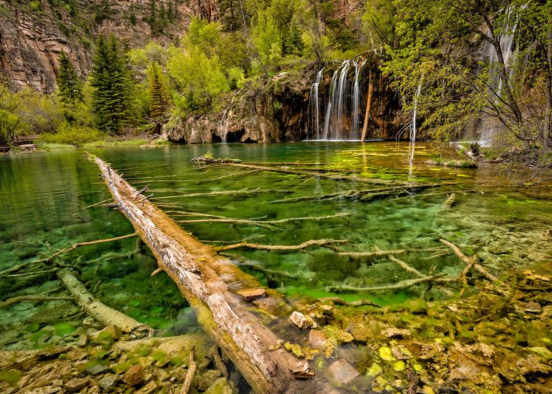 Waterfall and Log at Hanging Lake Colorado