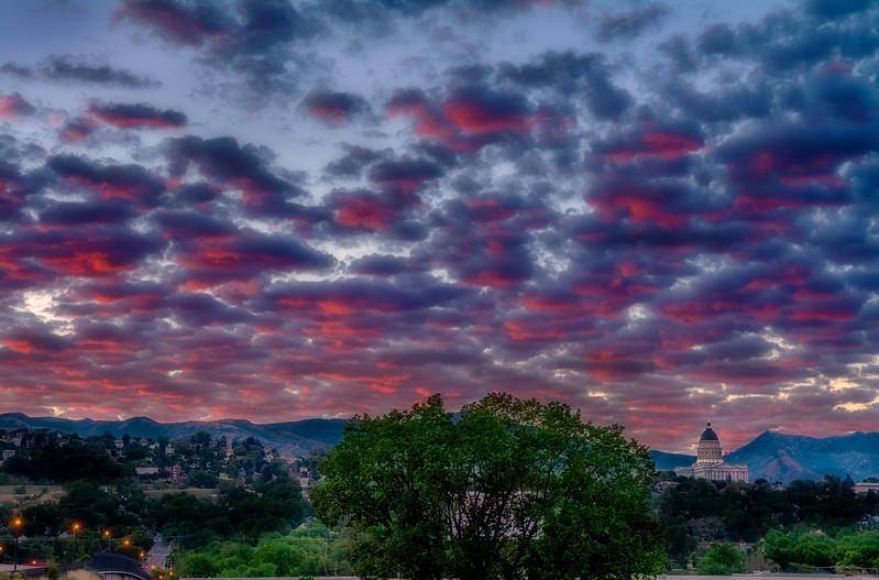 Dramatic sunrise over the Utah state Capital building