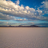 Bonneville Salt Flats morning with clouds over the mountains