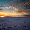 Salt crystal formations at sunrise