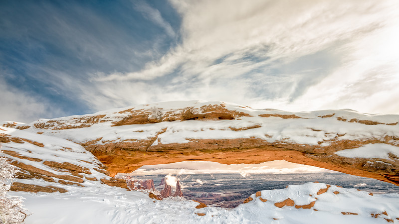 Mesa Arch and Canyon Lands on a Winter Morning