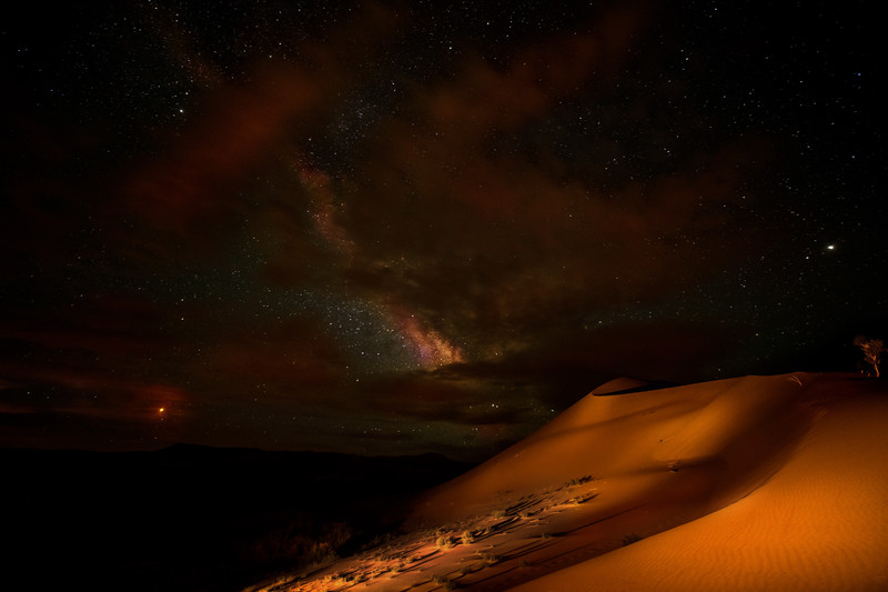Bruneau Sand Dunes with Milky way through clouds