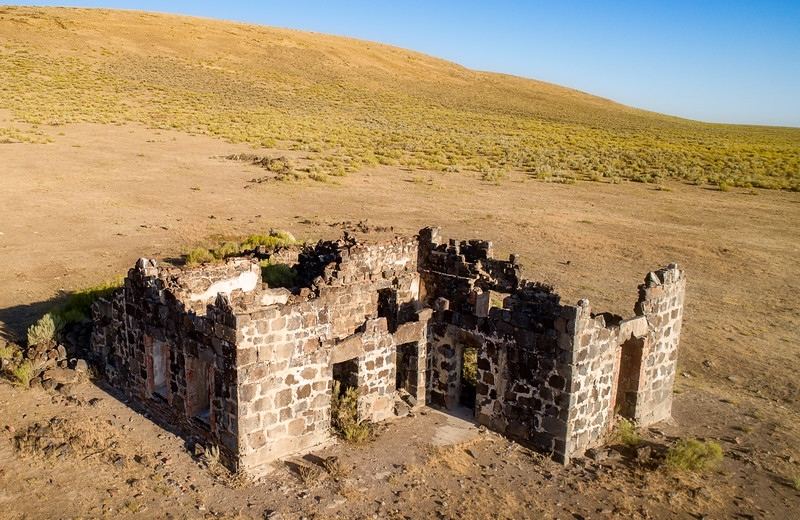 Aerial view of Wickahoney stone building ruins