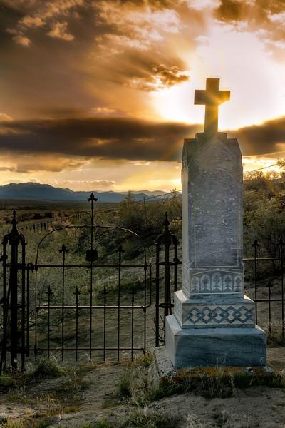 Shoo Fly desert Cemetery sunset beyond the cross