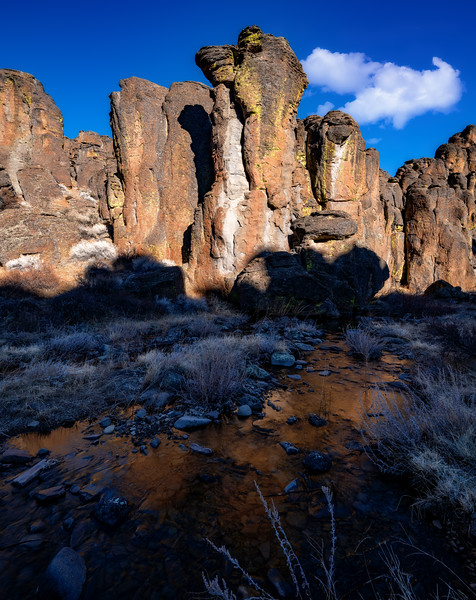 Hoodoo pinnacles tower above a small creek in Little city of rocks