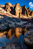 Hoodoos at Little City of Rocks in the spring with reflection in the stream