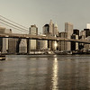 Colr fade of the New York Skyline and Brroklyn bridge