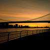 Twilight and silhouette of the Brooklyn Bridge
