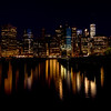 New York City skyline night with reflection
