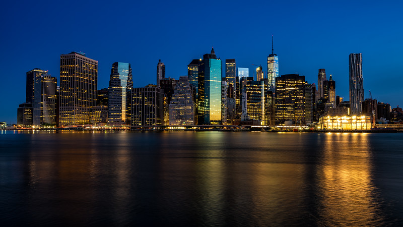 Skyline of the city of New York at night