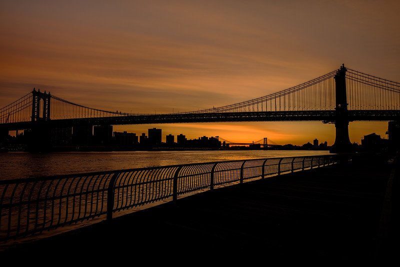 Brooklyn Bridge Silhouette and boardwalk