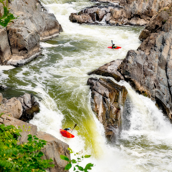 Potomac River's Great Falls with Kayak going over the falls