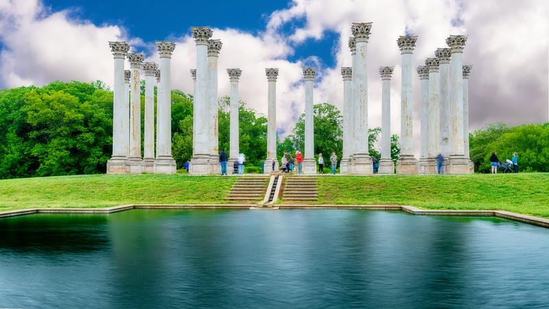 Retired US capital pillars at the National Botanical garden