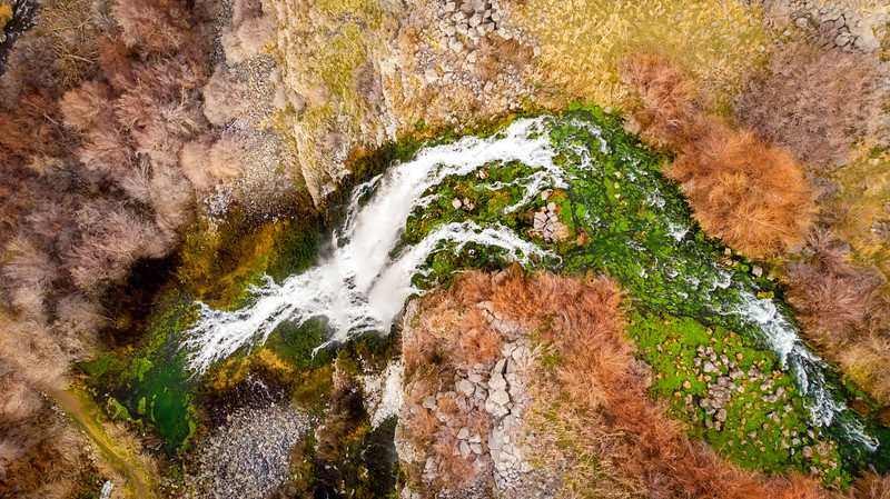 Aerial view of a large waterfall in Southern Idaho