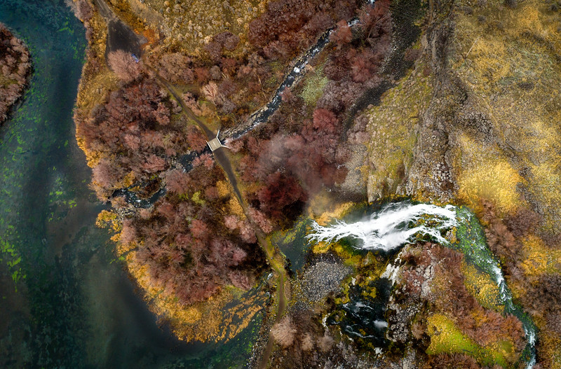 Aerial view of a popular water near Ritter Park Idaho