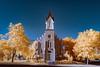 Brick church in Salt Lake City shot in infrared