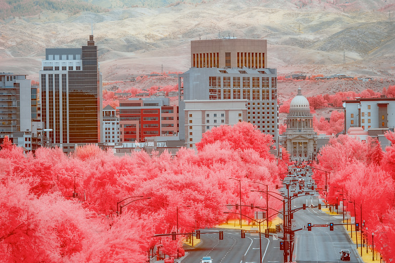 Boise City skyline unusual Infrared coloration