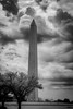Washington monument with dramatic clouds