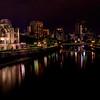 City lights of Hiroshima and A-Bomb Dome