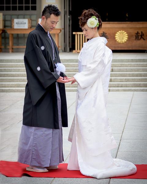 Bride and groom at wedding at Japan