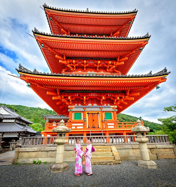 Frieds meet at the tower at Jishu Jinia Shrine Kyoto