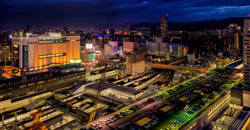 City night skyline of Hiroshima Japan