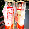 Two girls that work at the temple on Miyajima island