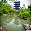 Temple reflection Kyoto Japan