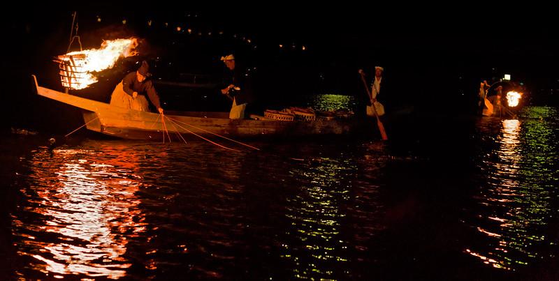 Night fishing in Japan with Cormorant birds