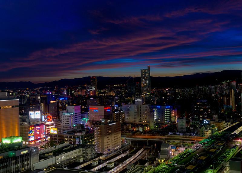 Beautiful sunset over the skyline of Hiroshima Japan