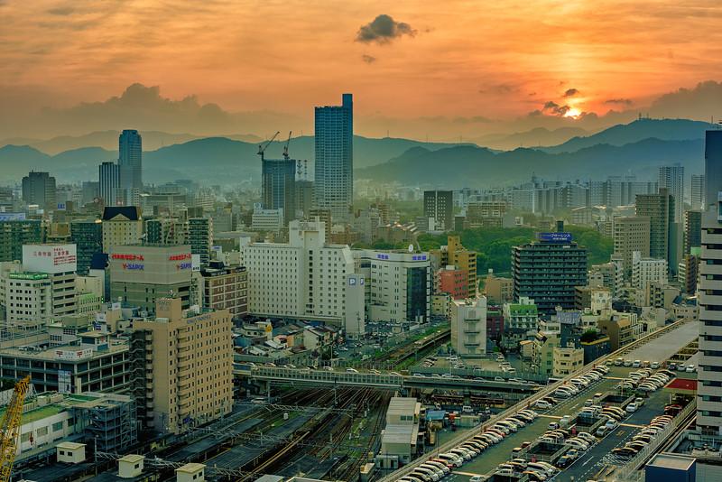 Dramatic sunset over Hiroshima Japan