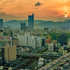 Dramatic sunset over Hiroshima Japan