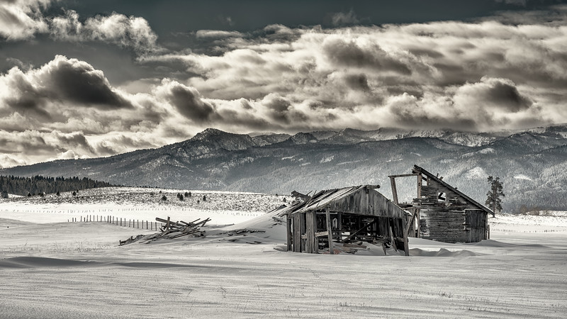 Collapsing Barn  Near  Cascade, Idaho