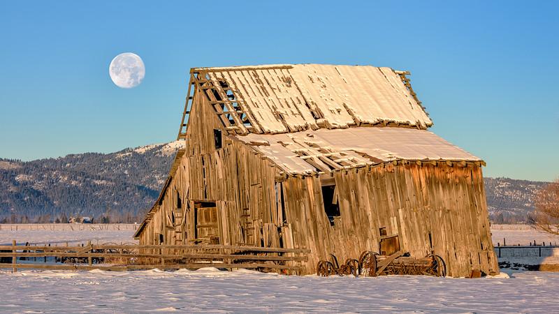 Moon over Barn in Roseberry, Idaho