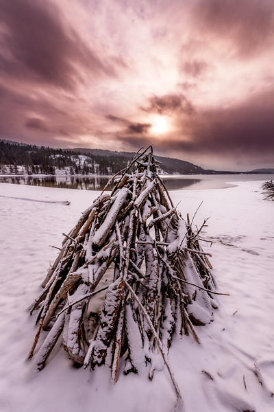 Morning sunrise over a Tee Pee winter North Shore Payette Lake