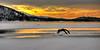 Yellow sunrise winter Payette Lake McCall