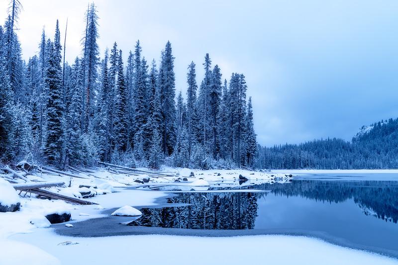 Winter forest scene reflection on Upper Payette Lake