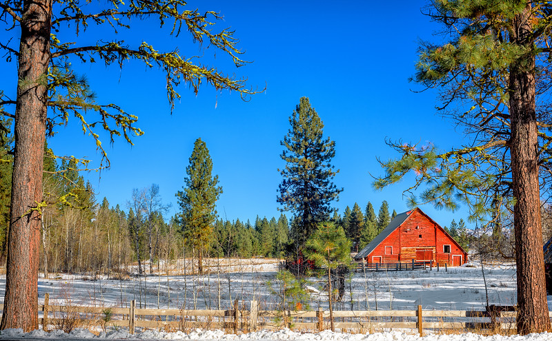 Red Barn near McCall Idaho winter