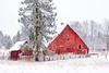Winter red country farm barn McCall