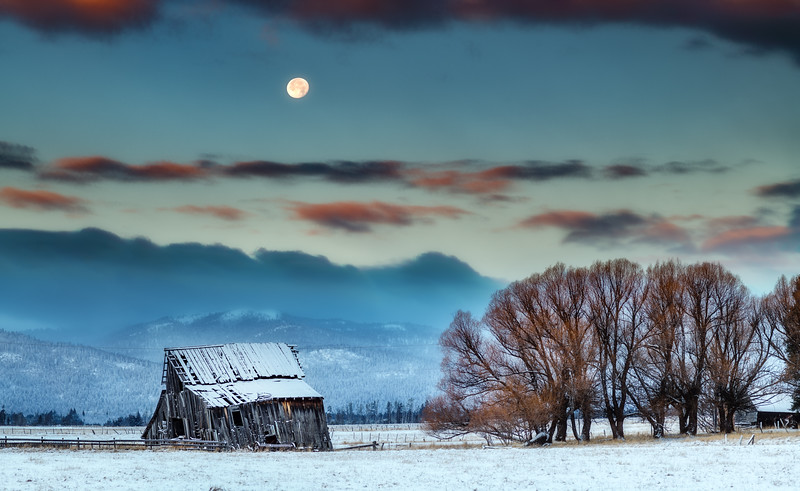 Roseberry Barn winter with full moon