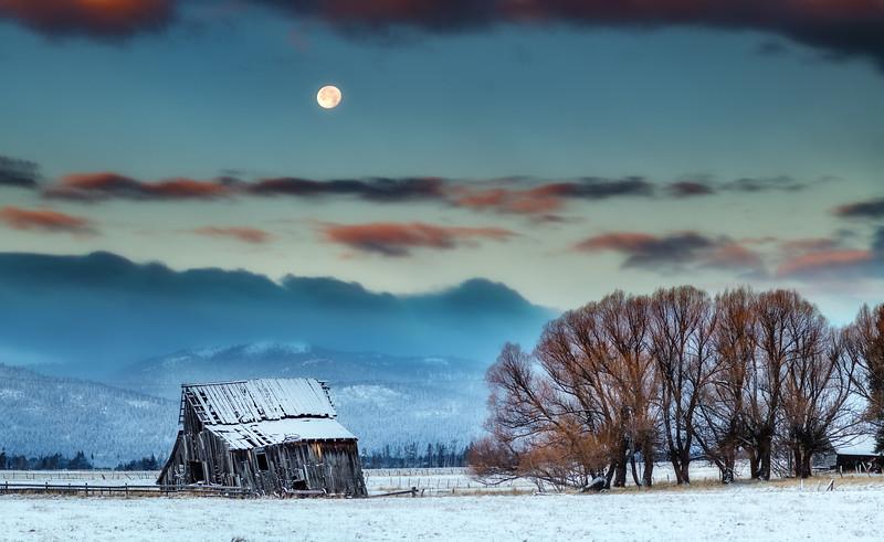 Roseberry Barn winter with full moon