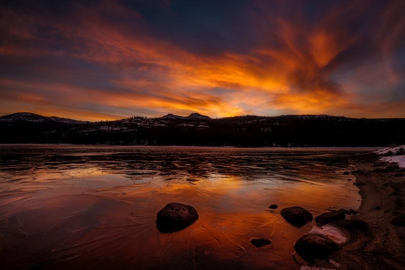 Sunrise over a frozen Upper Payette Lake