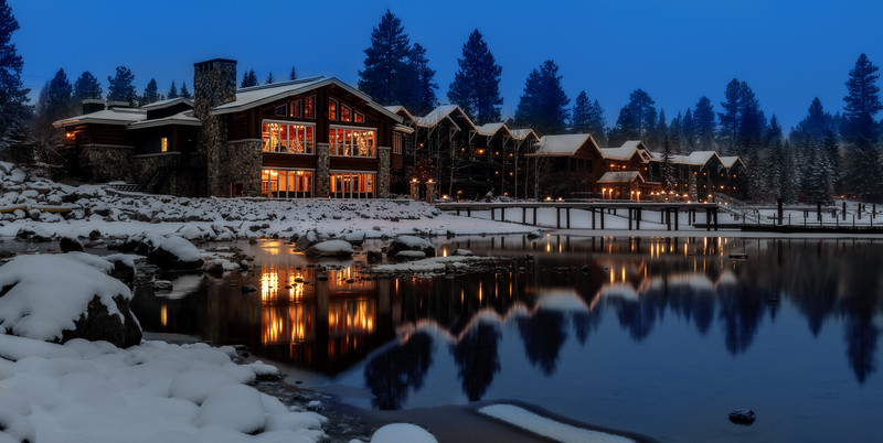 Shore Lodge in McCall Idaho in winter blue hour