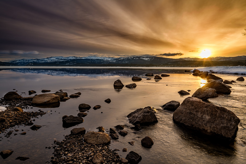 Dramatic sunrise over Payette Lake near McCall Idaho