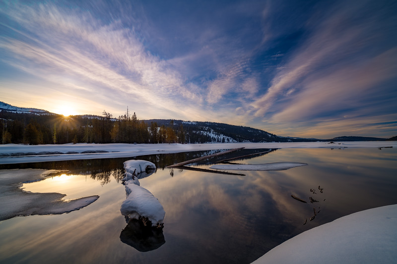 Winter sunrise over Payette Lake