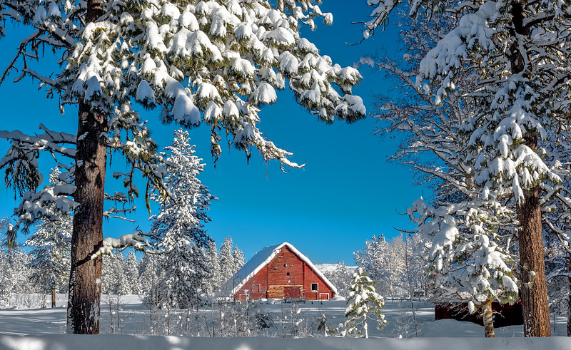 McCall Red Barn with Christmas Snow