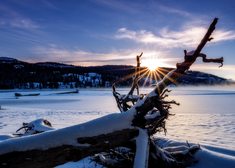 Sunrise winter over Payette Lake North Shore