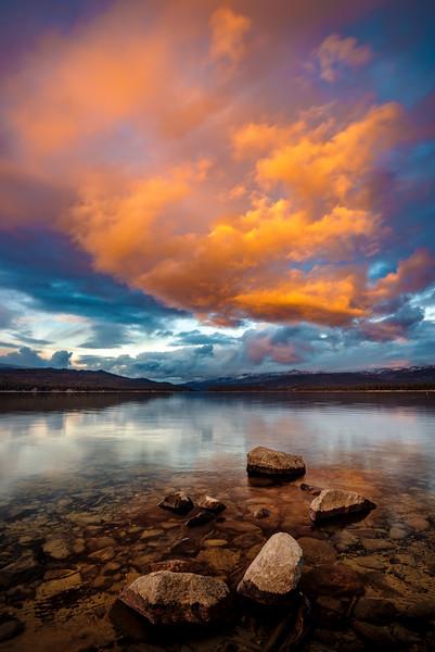Dramatic sunset over Payette Lake McCall Idaho