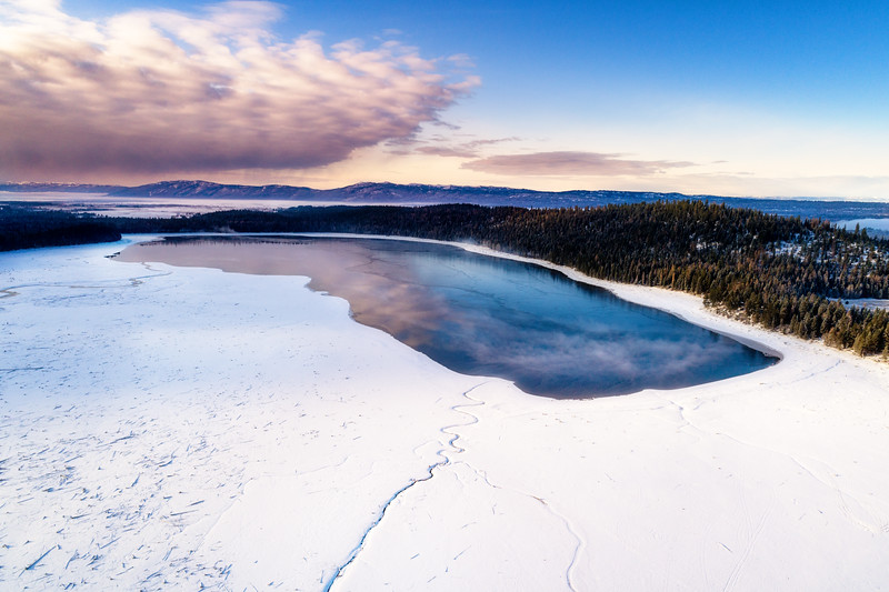 Upper Payette Lake in McCall Idaho in winter aerial view